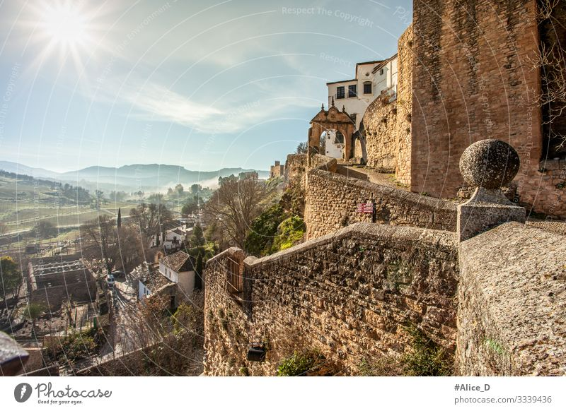 Ronda Andalusia Spain Vacation & Travel Tourism City trip Nature Landscape Winter Climate Beautiful weather Fog Hill Canyon Europe Town Old town Wall (barrier)