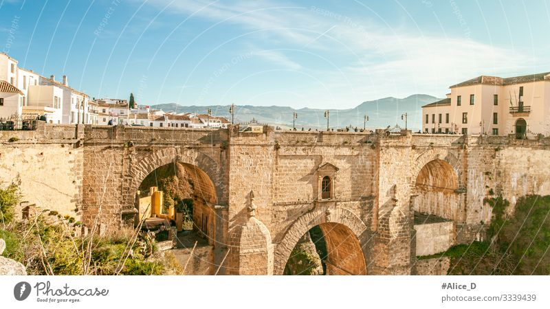Ronda El Puente Nuevo Andalusia Spain Vacation & Travel Tourism Sightseeing City trip Human being Group Beautiful weather Canyon Europe Town Downtown Old town
