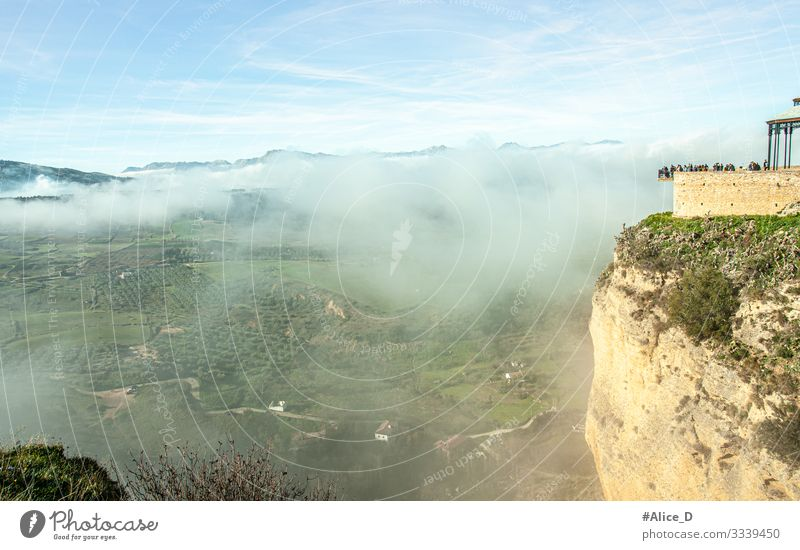 Ronda foggy landscape and viewing platform Vacation & Travel Tourism City trip Human being Group Nature Landscape Sun Climate Beautiful weather Fog Field Hill