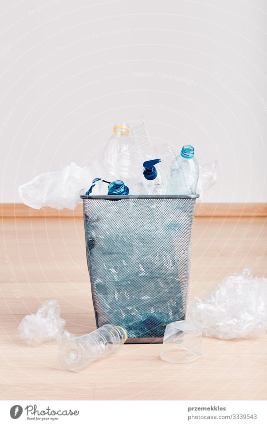 Heap of plastic bottles, cups, bags collected to recycling Bottle Environment Container Packaging Package Plastic packaging Wood Environmental pollution