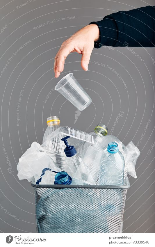 Heap of plastic bottles, cups, bags collected to recycling Bottle Hand Environment Container Packaging Package Plastic packaging Environmental pollution