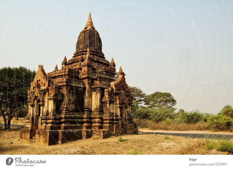 Bagan Ruin Yellow Gold Temple Myanmar Colour photo Exterior shot Deserted Copy Space right Day Sunlight