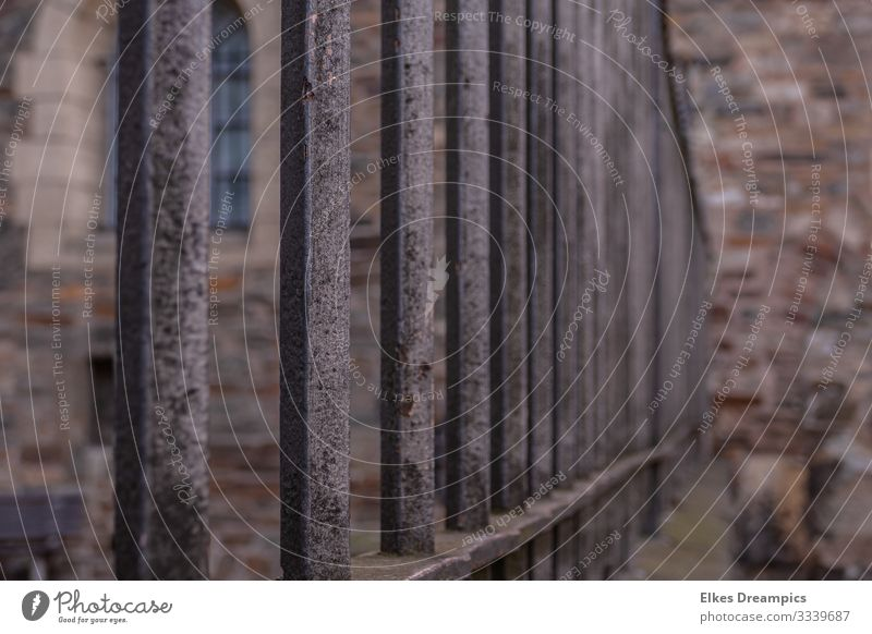 fence Town Downtown Deserted Dome Tourist Attraction Observe Touch Movement Famousness Safety Orderliness Belief Precision Attachment Aachen Colour photo