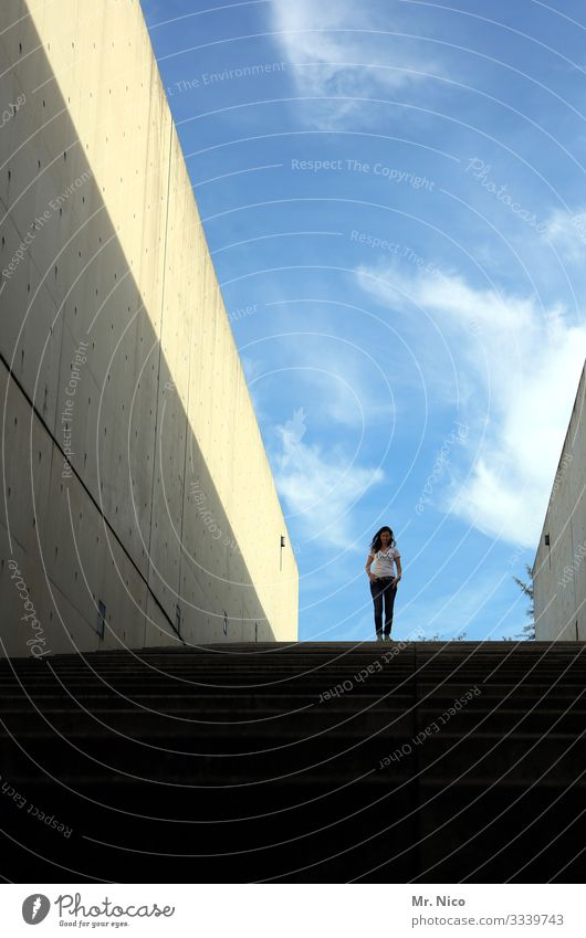 come down stay on top Feminine Woman Adults 1 Human being Sky Beautiful weather Manmade structures Architecture Wall (barrier) Wall (building) Stand Stairs