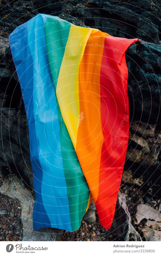 Gay pride flag on a rocky background Freedom Beach Feasts & Celebrations Wedding Human being Homosexual Family & Relations Friendship Partner Wind Stripe Flying