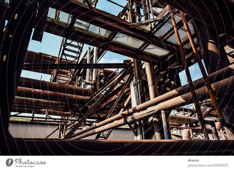 maze Technology Industry Deserted Industrial plant Factory Manmade structures Steel factory Pipe Metal Old Authentic Dirty Trashy Town Decline Past Transience