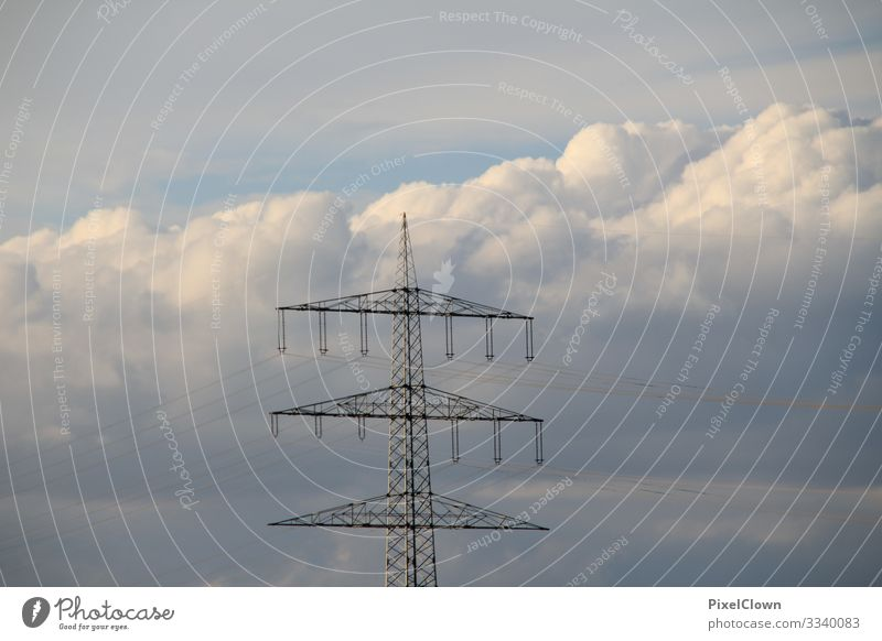 Power poles with a bright blue sky in the background stream electricity Energy industry Cable Sky Technology Electricity pylon Electrical equipment Blue
