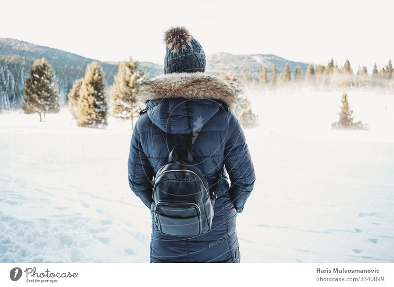 Snow adventure young woman with backpack Lifestyle Wellness Well-being Hiking Human being Youth (Young adults) Body 1 18 - 30 years Adults Environment Nature