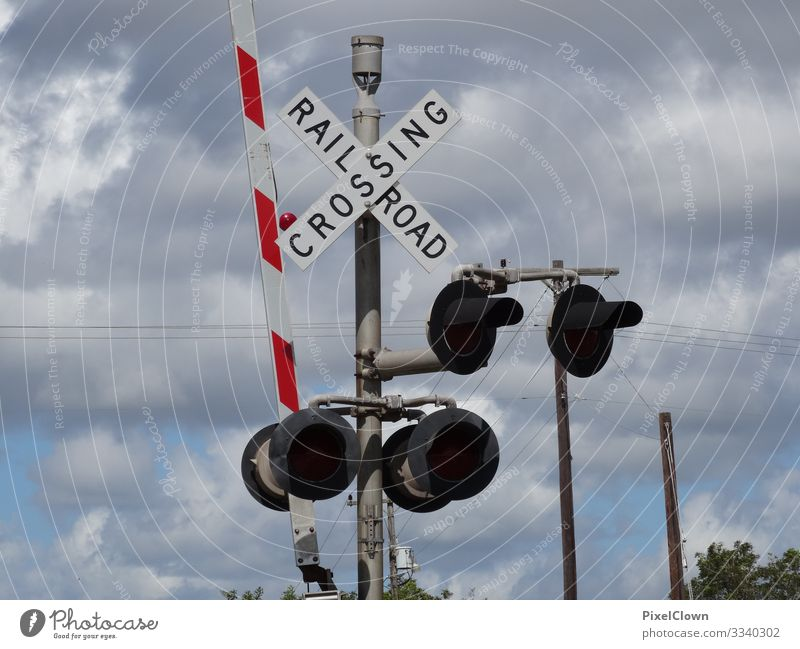 level crossing Lifestyle Style Design Train station Transport Means of transport Traffic infrastructure Train travel Rail transport Vacation & Travel Blue Moody