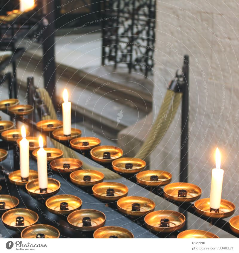 lit candles in church in remembrance Sign Gold Gray Black White shoulder stand Religion and faith Remember Memory Interior shot Deserted Light candlestick