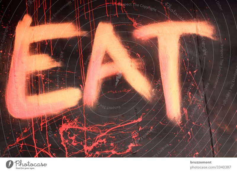 EAT Facade Characters Graffiti Town Pink Eating Demand Painted Colour photo Exterior shot Deserted Copy Space right