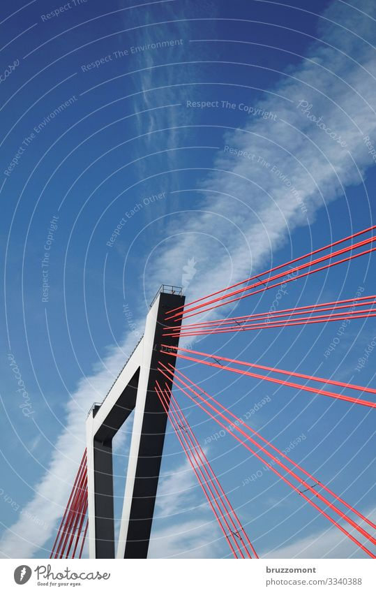 tension Sky Clouds Town Manmade structures Traffic infrastructure Bridge Steel Tall Red Power Cable-stayed bridge Pylon Duesseldorf Carrier Colour photo