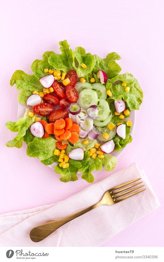 lettuce salad with tomato, cheese and vegetables Food Cheese Vegetable Nutrition Vegetarian diet Diet Bowl Healthy Eating Fresh Pink Salad Tomato corn cucumber