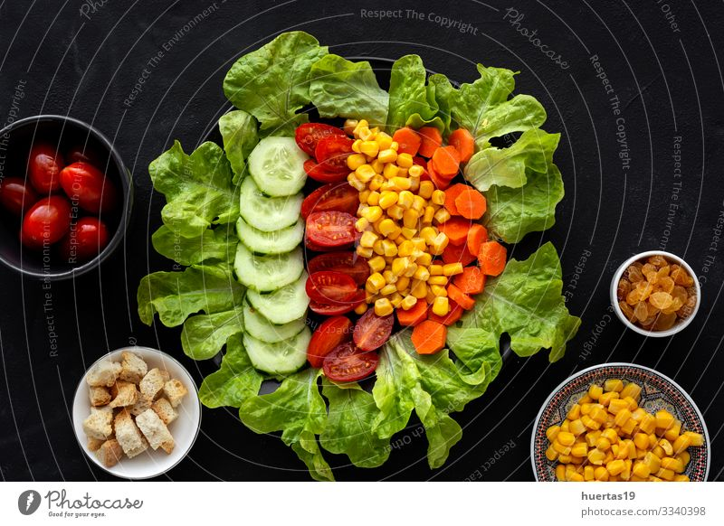 lettuce salad with tomato, cheese and vegetables Cheese Vegetable Nutrition Vegetarian diet Diet Bowl Healthy Eating Fresh Green Red Black Salad food Tomato