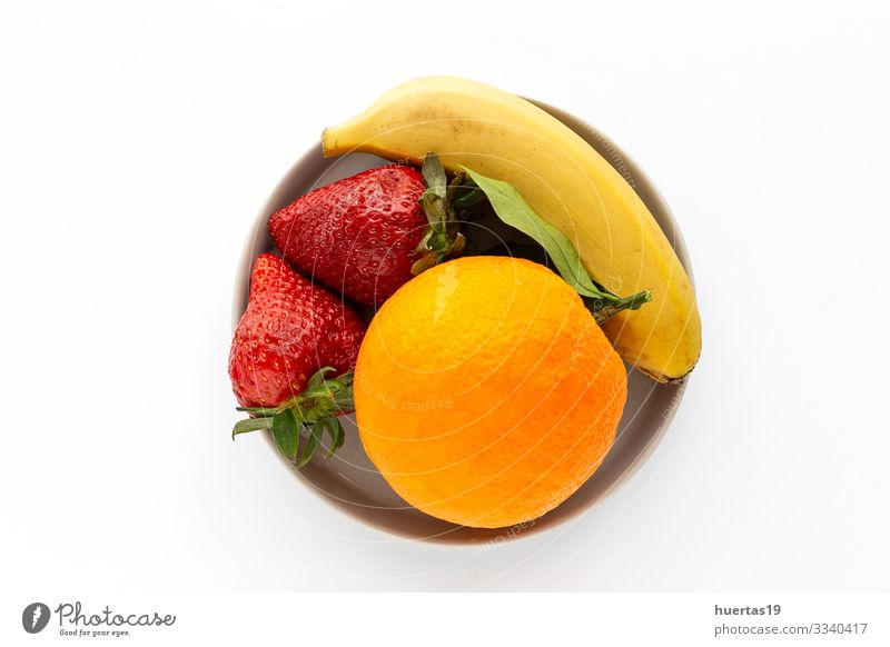 Assortment of fresh fruits seen from above Vegetable Orange Nutrition Vegetarian diet Diet Bowl Healthy Eating Fresh Sustainability food Banana Strawberry