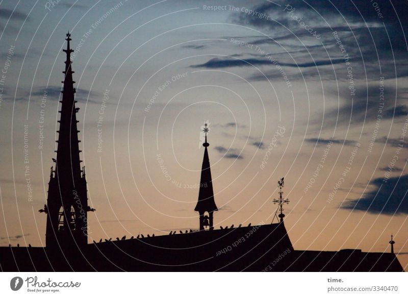 Ascensions | Lightning rod Sky Church Architecture Silhouette Church spire Evening Weathercock religion Tower Clouds Wind Blown away Drift Line Stripe Tall