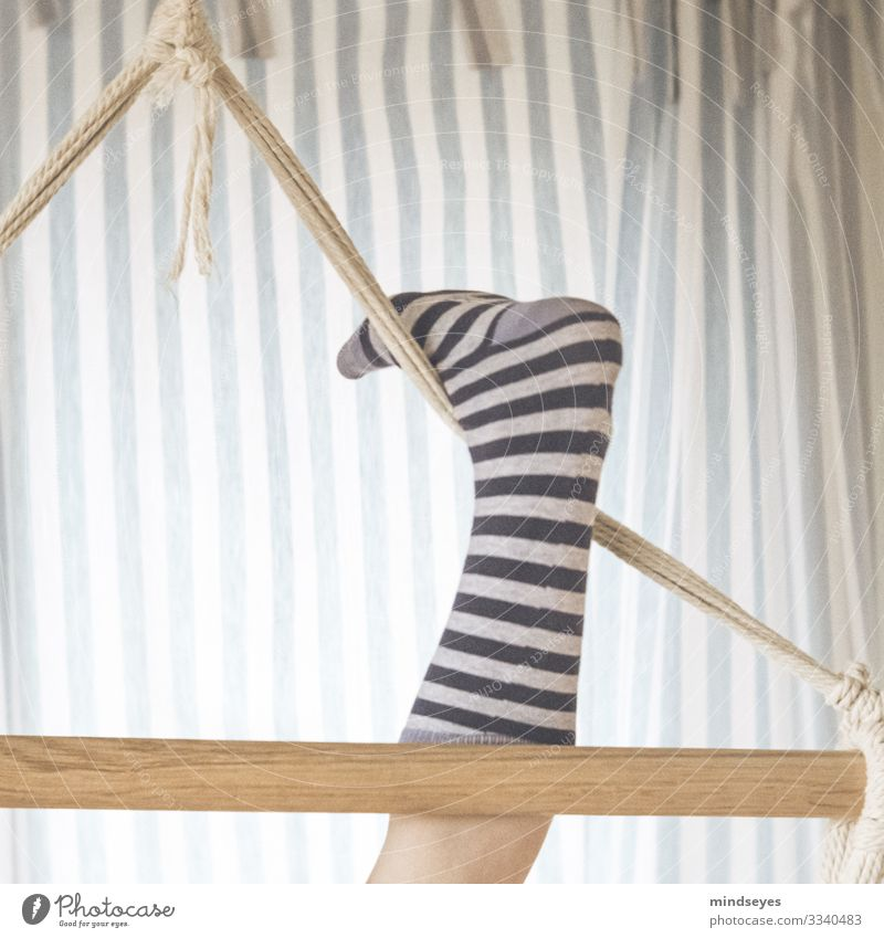 Curled Living or residing Children's room Girl 1 Human being 8 - 13 years Infancy Swing Striped socks Striped pantyhose Drape Line Relaxation Fitness Flying
