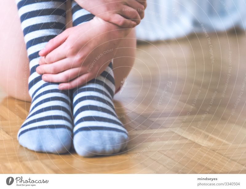 striped stockings on parquet Living or residing Children's room Parquet floor Masculine Girl Infancy 1 Human being 8 - 13 years Clothing Stockings Sock Think