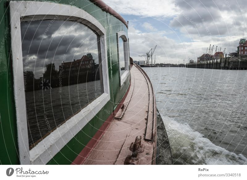 On a ferry in the harbor of Hamburg. Lifestyle Style Vacation & Travel Tourism Sightseeing City trip Work and employment Profession Workplace Factory Economy