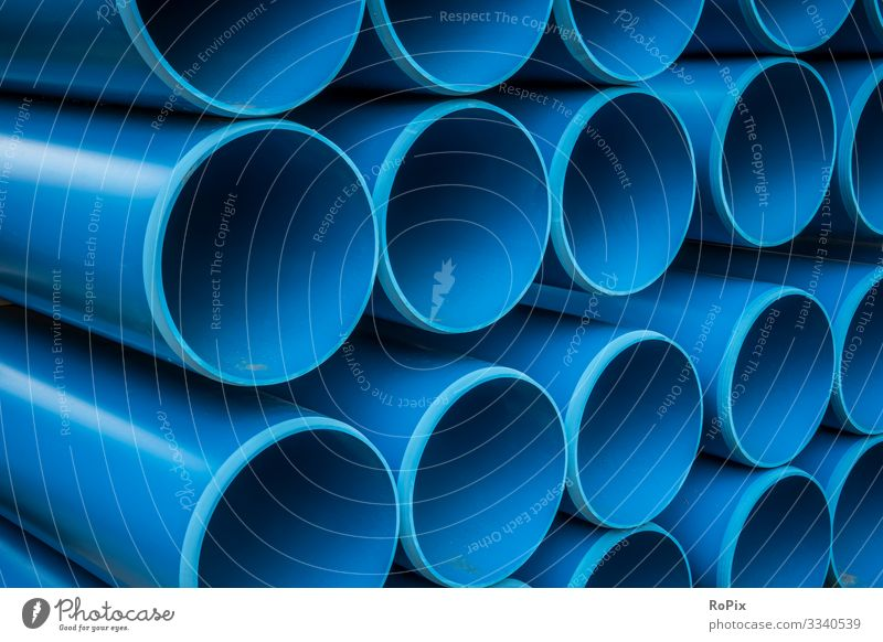 Water supply pipelines on a construction site. Education Science & Research Work and employment Profession Workplace Factory Economy Agriculture Forestry
