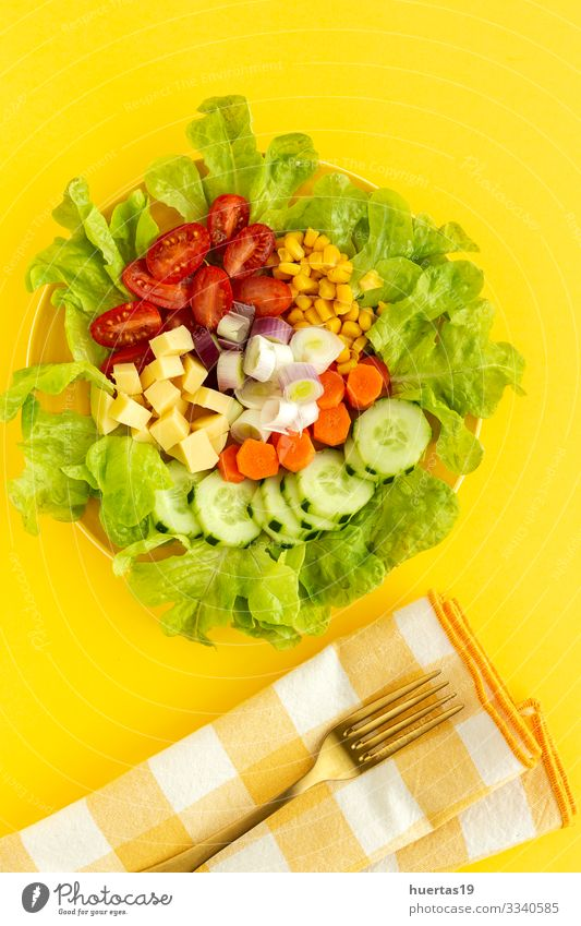 lettuce salad with tomato, cheese and vegetables Food Cheese Vegetable Nutrition Vegetarian diet Diet Bowl Healthy Eating Fresh Yellow Red Salad Tomato corn