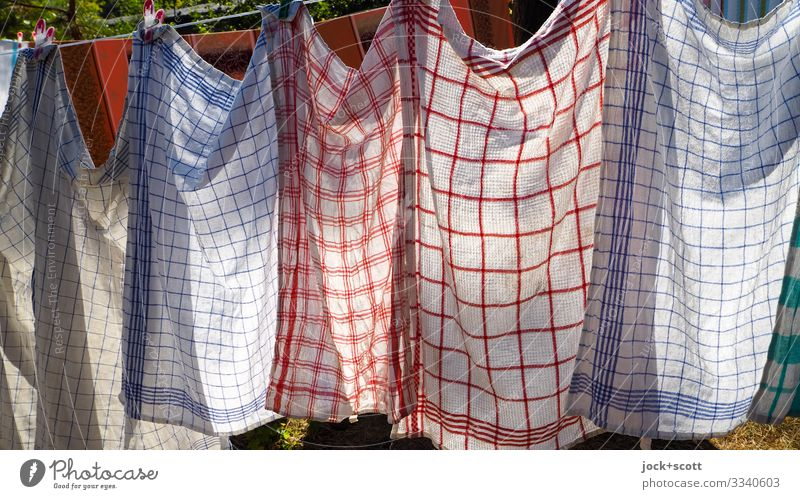 washday Style Summer Beautiful weather Warmth Cottbus Dish towel Clothesline Textiles Line Stripe Network Hang Authentic Thin Long Near Blue Red Moody