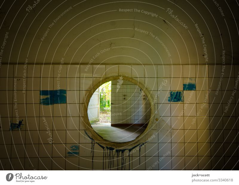 Straight through the circle lost places Warmth Brandenburg Building Sanitarium Wall (barrier) Wall (building) Door Vista Tile Line Circle Exceptional Dirty