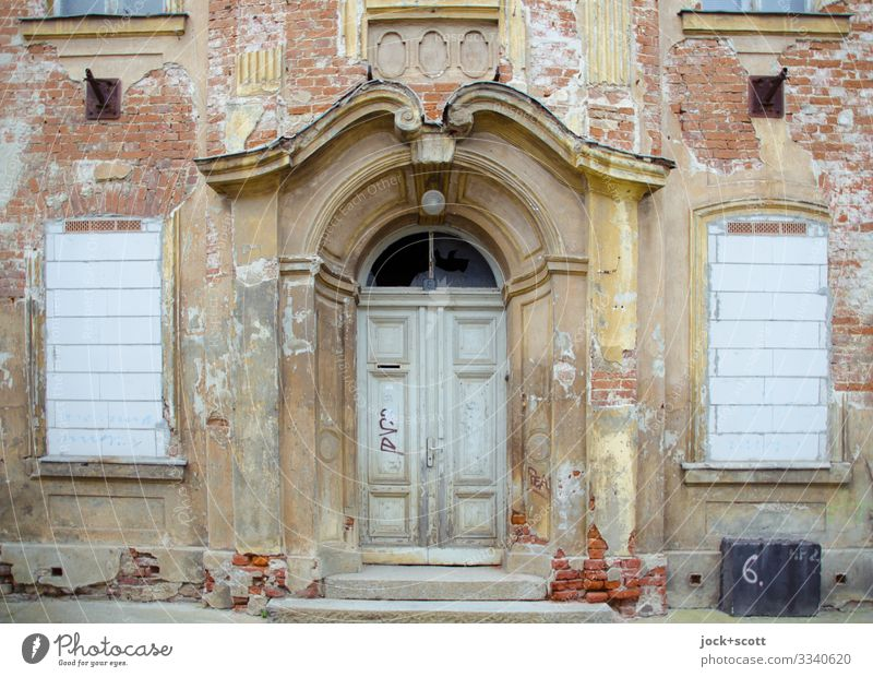 Portal of the tenement house lost places Bad weather Frankfurt Oder House (Residential Structure) Facade Window Goal Wall (barrier) Decoration Old Authentic