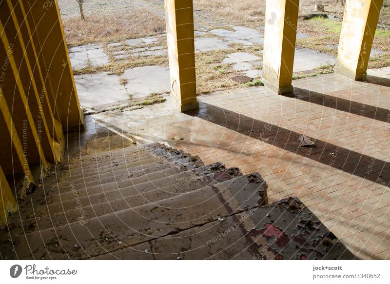 Descent in the morning Beautiful weather Brandenburg Places Military building Stairs Column Stone floor Stripe Diagonal Sharp-edged Firm Historic Broken Above