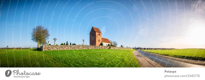 Panorama landscape with a church Beautiful Sun House (Residential Structure) Environment Nature Landscape Sky Autumn Weather Grass Park Meadow Church Building