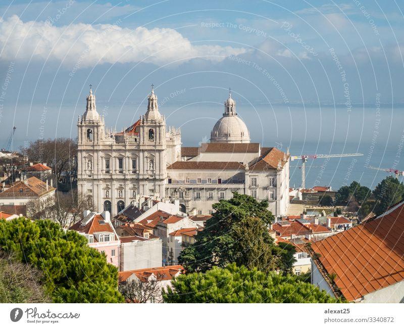 Mosteiro De Sao Vicente De Fora church in Lisbon, Portugal Vacation & Travel Church Building Architecture Facade Aircraft Old Historic White Religion and faith