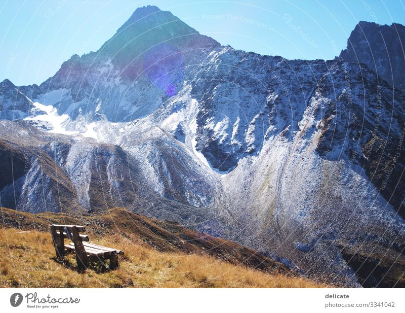 time-out Vacation & Travel Tourism Trip Adventure Far-off places Freedom Mountain Hiking Rock Alps Peak Snowcapped peak Glacier Bench Sit Break Relaxation