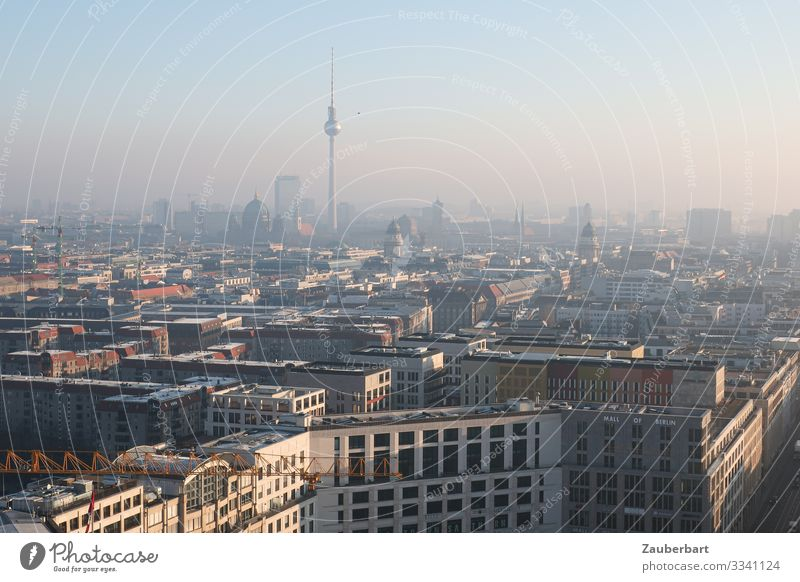 Good morning Berlin Sky Cloudless sky Downtown Berlin Capital city High-rise Bank building Manmade structures Berlin TV Tower Looking Large Beautiful Town