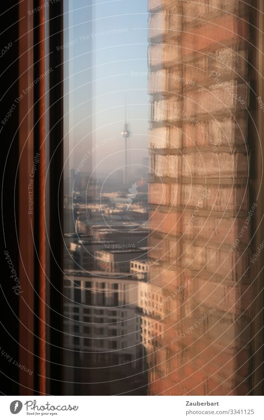 Mirrored window view of Leipziger Platz and television tower City trip Berlin Downtown Berlin Capital city Deserted High-rise Architecture Wall (barrier)