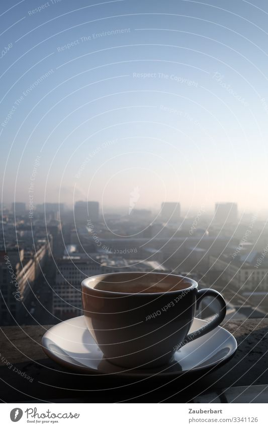 Coffee via Berlin Beverage Espresso Cappuccino Cup Saucer Coffee cup Sky Cloudless sky Downtown Berlin Capital city Deserted High-rise Potsdamer Platz Drinking