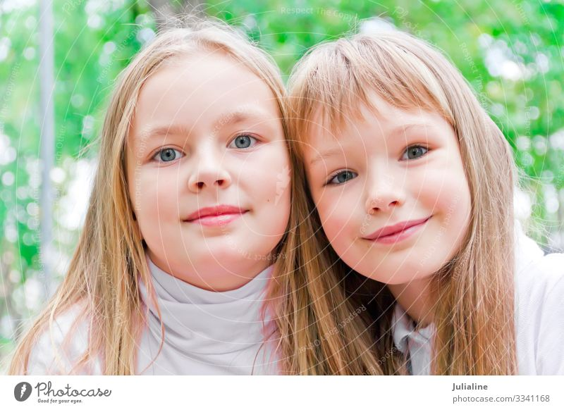 Cute two girls Child Schoolchild Woman Adults Sister Infancy Blonde White kid European Caucasian preschooler six 7 eight nine Colour photo Multicoloured