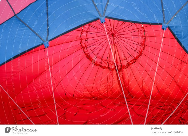 Balloon filling with air in Aeroestacion Festival in Guadix Joy Relaxation Leisure and hobbies Vacation & Travel Adventure Sky Clouds Transport Hot Blue Yellow