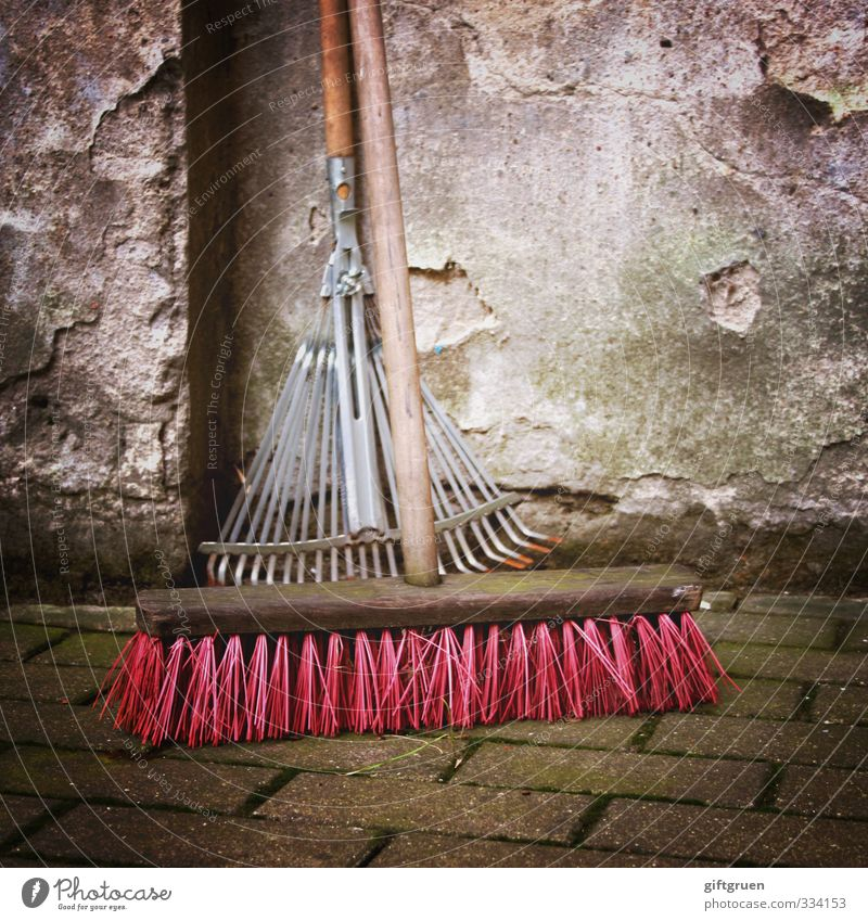 spring cleaning Living or residing Cleaning Broom Working equipment Work and employment Cleanliness Wall (barrier) Plaster Rake Pink Spring cleaning Bristles