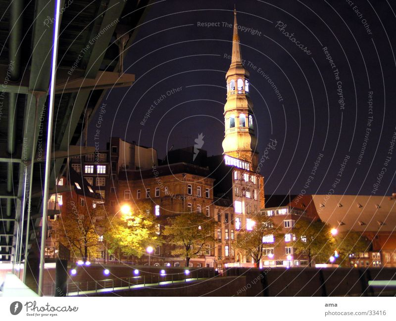 St. Catherine's Church Night Protestantism Europe Hamburg Treetop Religion and faith