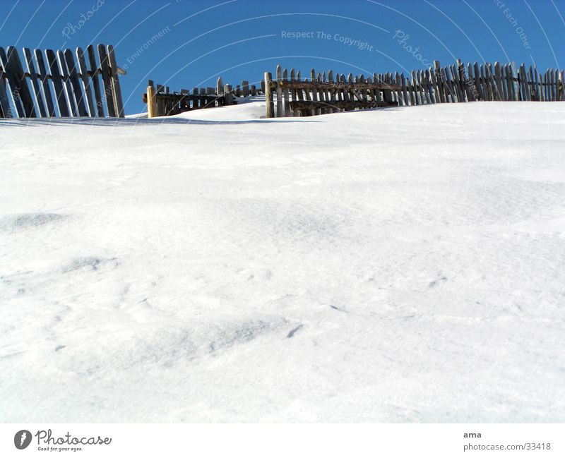 a way out Fence White Exit route Winter South Tyrol Mountain Snow untouched