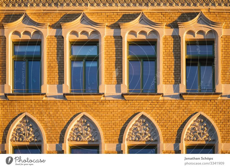 Evening sun on house facade Chemnitz Germany Twilight Saxony Facade Facades Sunlight evening light evening mood Apartment Building Deserted Exterior shot