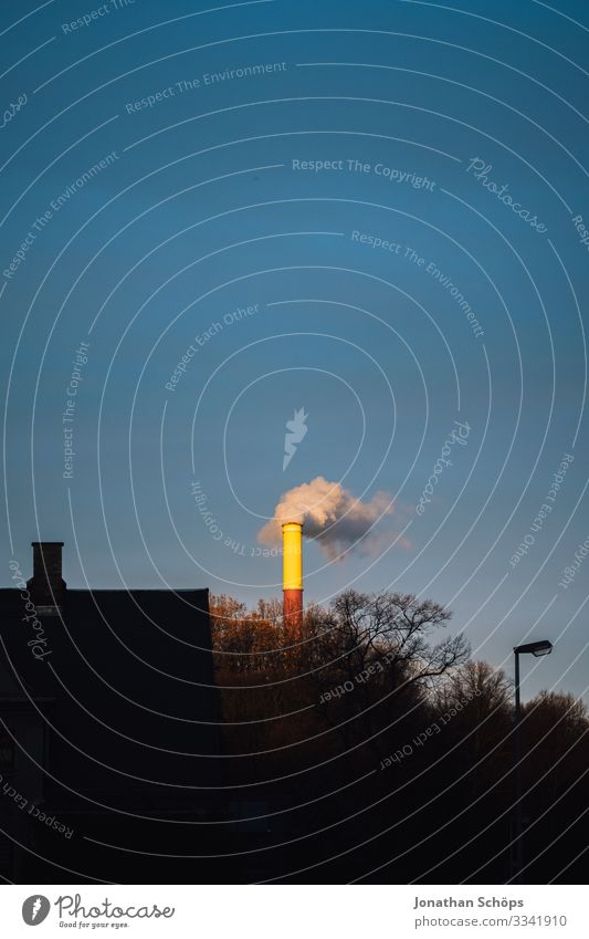 Sky Landscape Environment Germany Smoke Dusk Exhaust gas Saxony Chimney Climate change Crayon Electricity generating station Evening sun Coal
