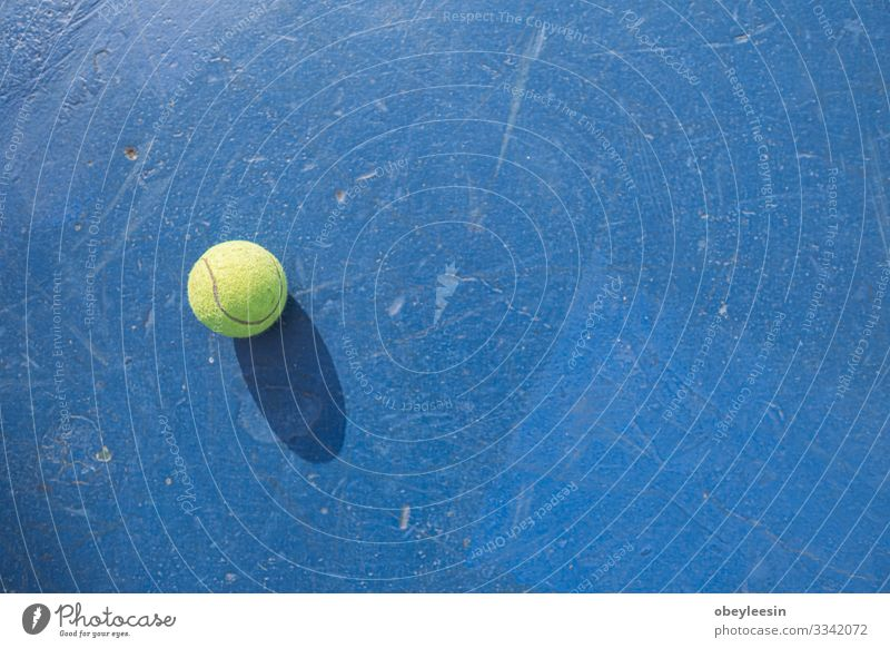 yellow tennis ball on the floor of the tennis court Lifestyle Joy Playing Summer Sports Human being Man Adults Friendship Partner Fitness Green