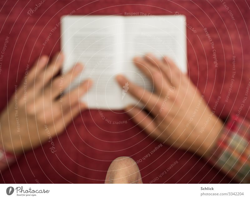 read Reading Table Study Masculine Man Adults Nose Hand 1 Human being Paper Red Concentrate Book Bird's-eye view selective focus Monochrome Tablecloth