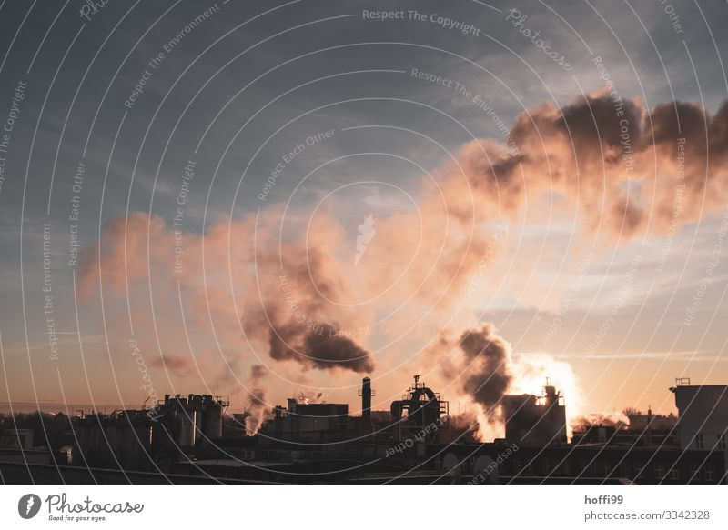 urban sunset Energy industry Coal power station Industry Chemical Industry Sunrise Sunset Beautiful weather Industrial plant Factory Facade Roof Chimney