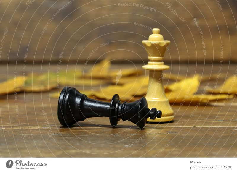 chessmen Chess Chessboard Chess piece Knight Black White Sporting event Competition King Farmer Thrashing Playing Planning Success Wooden board Sieg leap Battle