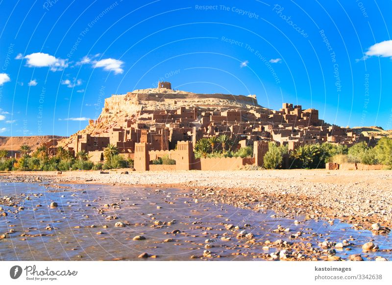 Ancient city of Ait Benhaddou in Morocco Vacation & Travel Tourism Culture Landscape River Oasis Village Castle Ruin Building Architecture Historic Tradition