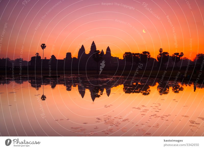 Angkor Wat, Siem Reap, Cambodia, Asia Vacation & Travel Tourism Earth Sky Clouds Tree Rock Pond Lake Ruin Building Architecture Facade Monument Stone Old Colour
