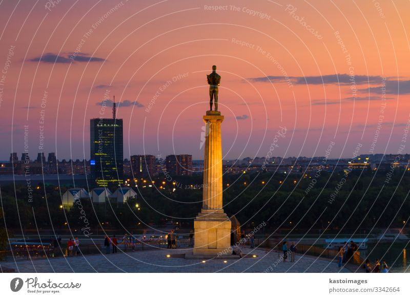 Statue of Victor, Belgrade, Serbia. Vacation & Travel Tourism Sightseeing Success Culture Sky River Town Skyline Places Building Architecture Terrace Monument