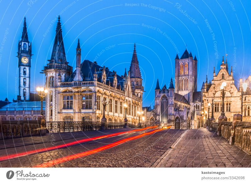 Leie river bank in Ghent, Belgium, Europe. Beautiful Life Tourism House (Residential Structure) Clock Night life Financial institution To talk Sky Town Church